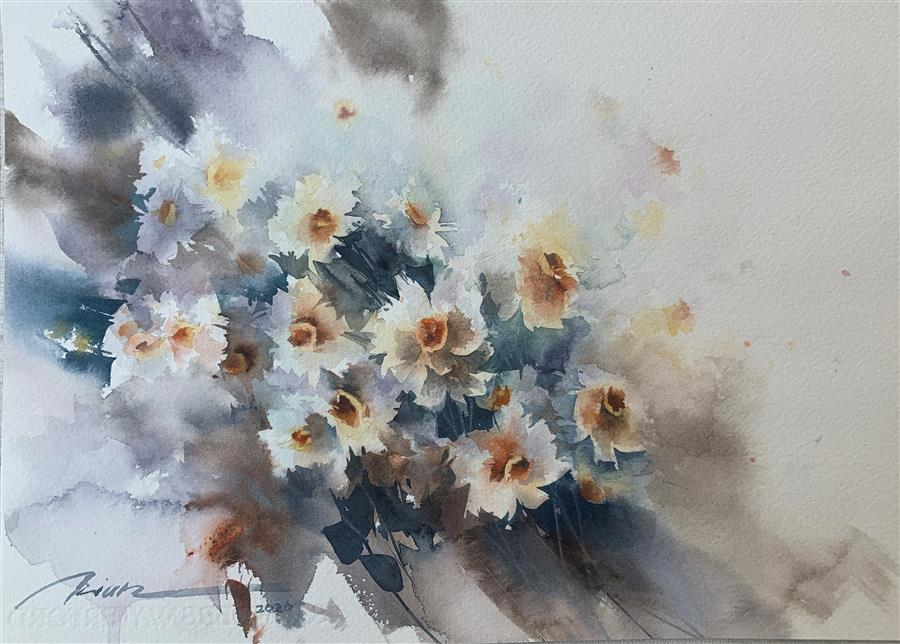 Original art for sale at UGallery.com | Stronger Together by Fatemeh Kian | $525 | watercolor painting | 10.5' h x 14.4' w | ..\art\watercolor-painting-Stronger-Together