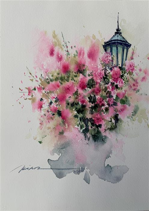 Original art for sale at UGallery.com | Cheerful Lantern by Fatemeh Kian | $525 | watercolor painting | 14.5' h x 10' w | ..\art\watercolor-painting-Cheerful-Lantern
