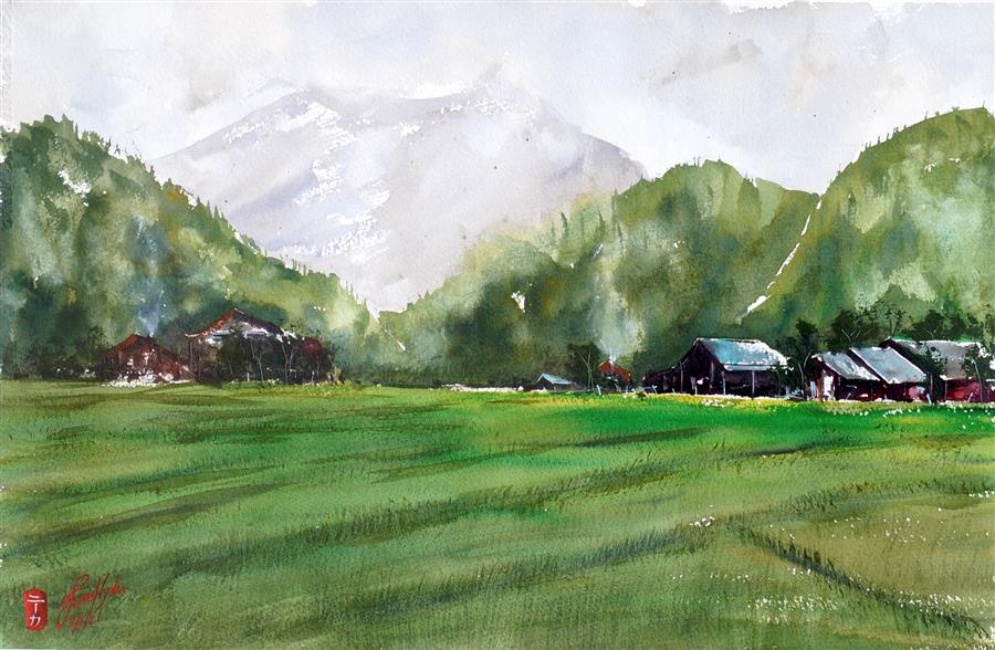 Original art for sale at UGallery.com | Rice Field by James Nyika | $600 | watercolor painting | 15' h x 22' w | ..\art\watercolor-painting-Rice-Field