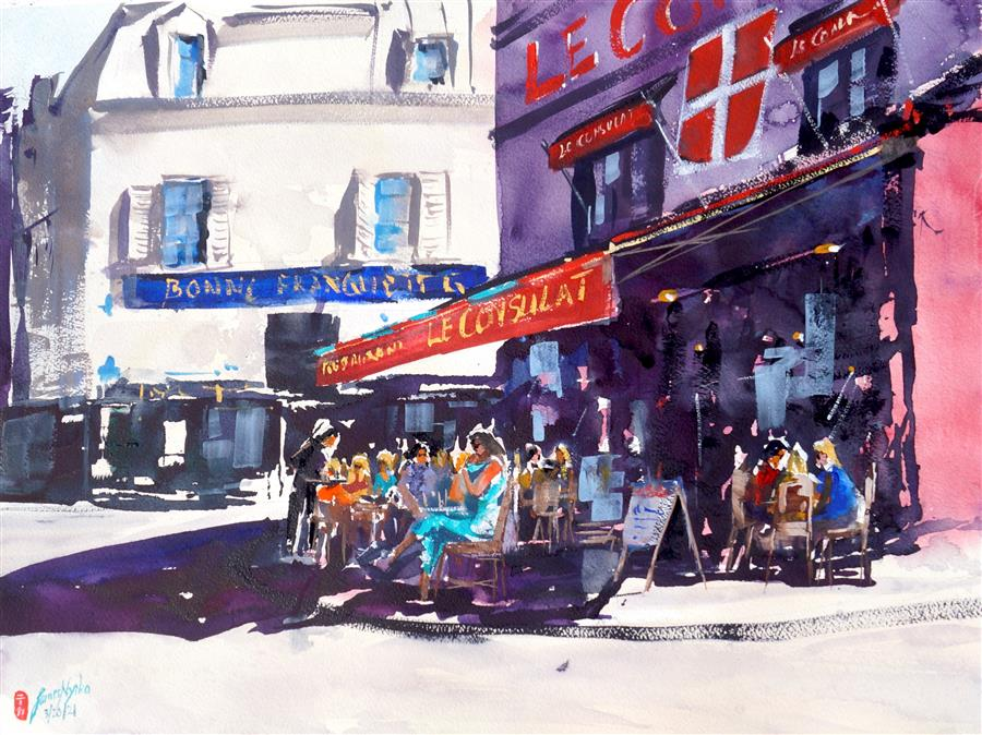 Original art for sale at UGallery.com | Cafe Le Consulat by James Nyika | $800 | watercolor painting | 18' h x 24' w | ..\art\watercolor-painting-Cafe-Le-Consulat