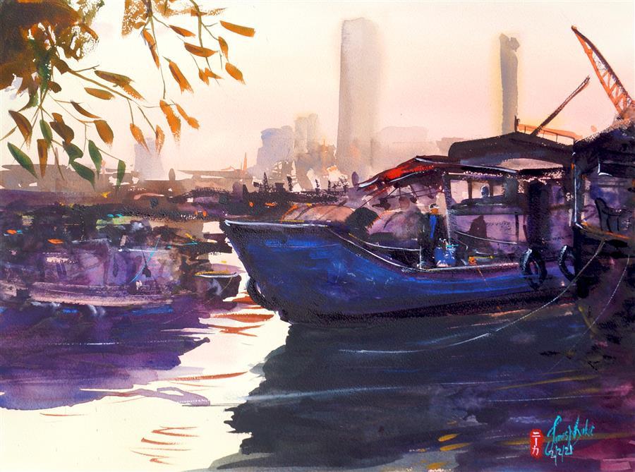 Original art for sale at UGallery.com   Hong Kong - Fisherman Docking by James Nyika   $800   watercolor painting   18' h x 24' w   ..\art\watercolor-painting-Hong-Kong-Fisherman-Docking