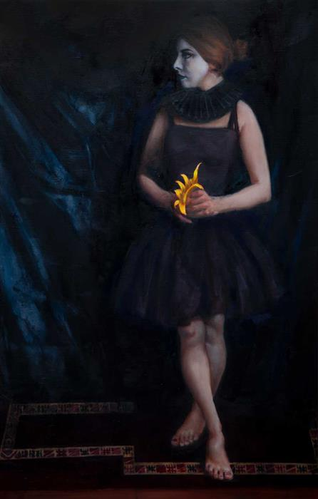 Original art for sale at UGallery.com | Yellow Orchid by John Kelly | $3,000 | oil painting | 32' h x 21.25' w | ..\art\oil-painting-Yellow-Orchid