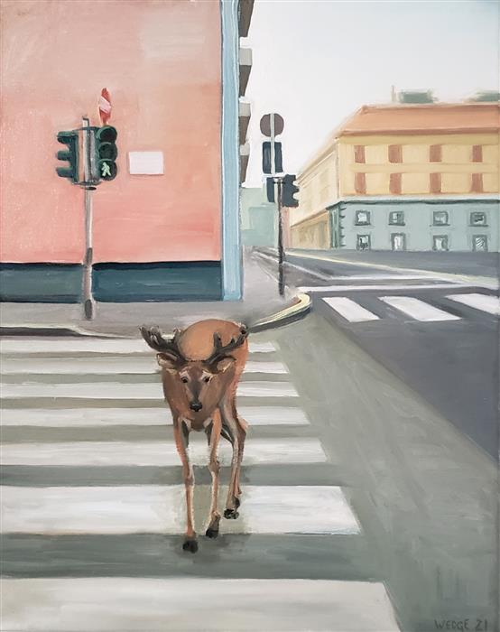 Original art for sale at UGallery.com | Pedestrian by Michael Wedge | $500 | oil painting | 20' h x 16' w | ..\art\oil-painting-Pedestrian