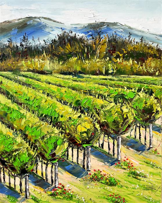 Original art for sale at UGallery.com | Spring in the Vineyard by Lisa Elley | $1,475 | oil painting | 30' h x 24' w | ..\art\oil-painting-Spring-in-the-Vineyard