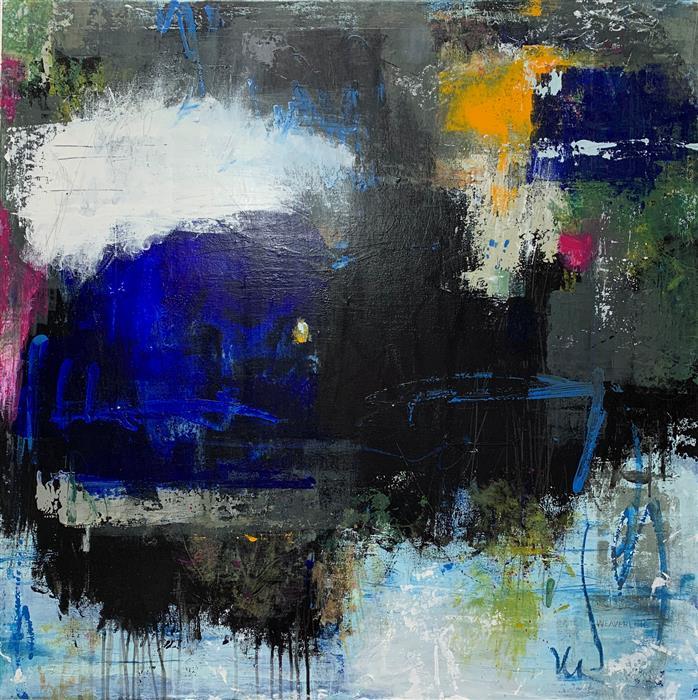 Original art for sale at UGallery.com | In Other News by Julie Weaverling | $2,100 | mixed media artwork | 36' h x 36' w | ..\art\mixed-media-artwork-In-Other-News