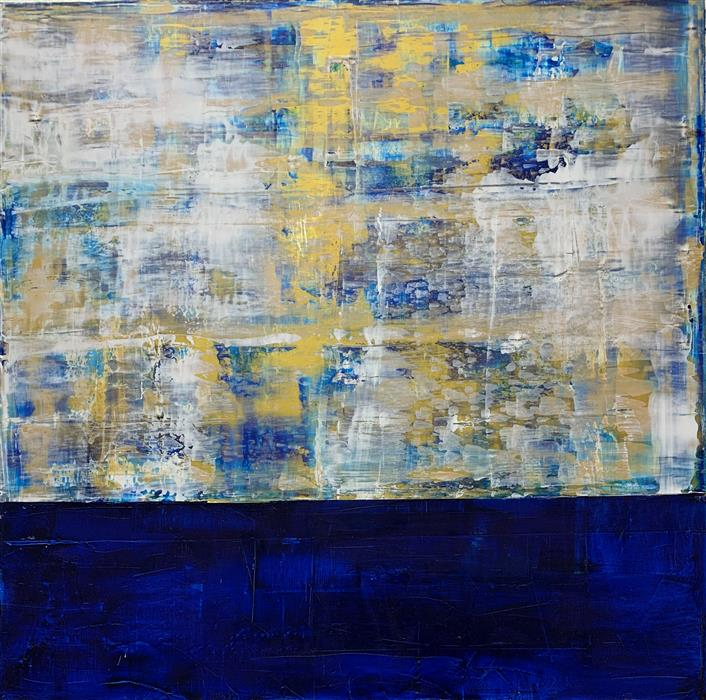 Original art for sale at UGallery.com | Among the Clouds 2 by Julie Weaverling | $2,100 | mixed media artwork | 36' h x 36' w | ..\art\mixed-media-artwork-Among-the-Clouds-2