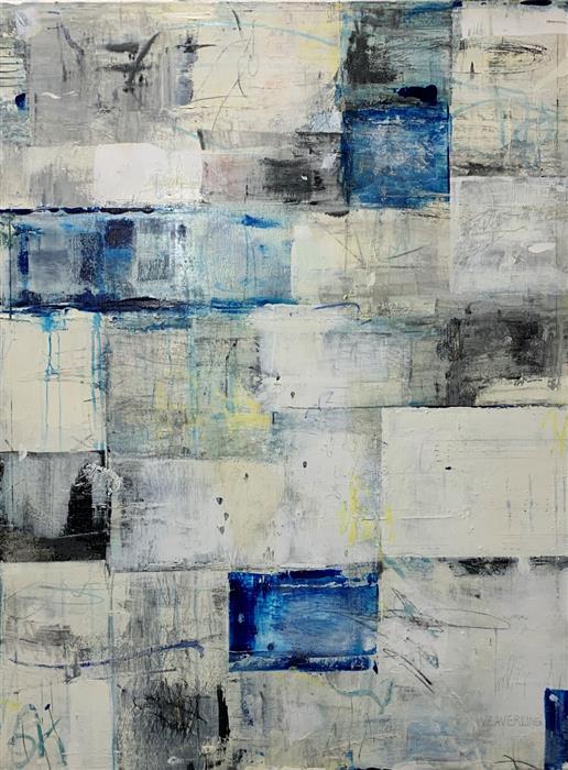 Original art for sale at UGallery.com | Listen by Julie Weaverling | $2,175 | mixed media artwork | 40' h x 30' w | ..\art\mixed-media-artwork-Listen