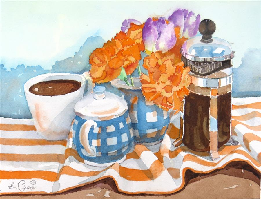 Original art for sale at UGallery.com | A Favorite Coffee Shop by Nancy LaBerge Muren | $400 | watercolor painting | 11' h x 15' w | ..\art\watercolor-painting-A-Favorite-Coffee-Shop