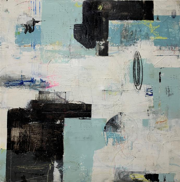 Original art for sale at UGallery.com | Once Upon a Time 2 by Julie Weaverling | $2,100 | mixed media artwork | 36' h x 36' w | ..\art\mixed-media-artwork-Once-Upon-a-Time-2