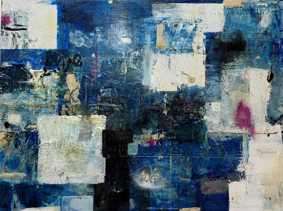 Original art for sale at UGallery.com | Strength of Community by Julie Weaverling | $3,400 | mixed media artwork | 36' h x 48' w | ..\art\mixed-media-artwork-Strength-of-Community