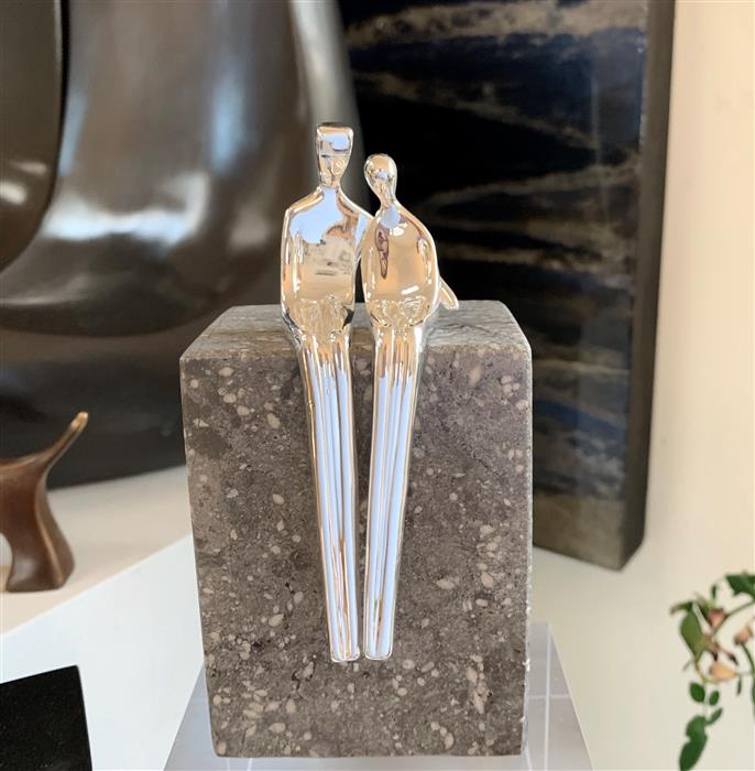 Original art for sale at UGallery.com | Close to Me in Silver Plate by Yenny Cocq | $490 | sculpture | 4.5' h x 2' w | ..\art\sculpture-Close-to-Me-in-Silver-Plate