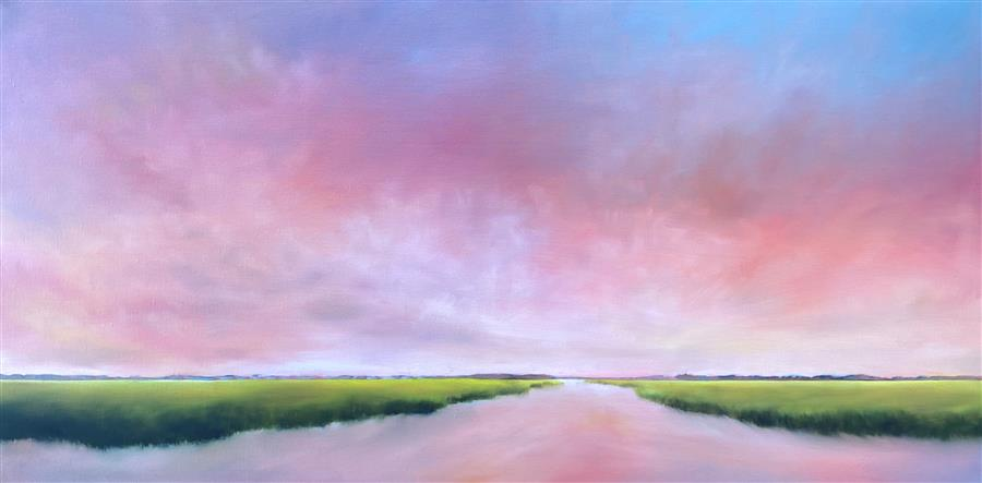 Original art for sale at UGallery.com | Marsh at Sunset by Nancy Hughes Miller | $1,975 | oil painting | 20' h x 40' w | ..\art\oil-painting-Marsh-at-Sunset