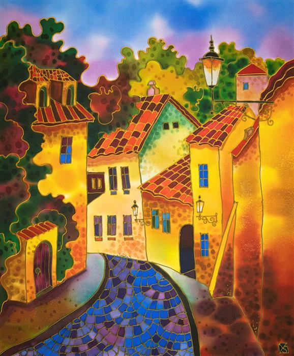 Original art for sale at UGallery.com | Cozy Street Prague by Yelena Sidorova | $1,200 | mixed media artwork | 24' h x 20' w | ..\art\mixed-media-artwork-Cozy-Street-Prague-70964