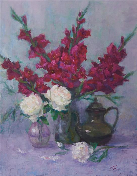 Original art for sale at UGallery.com | Gladiolas and Peonies by Oksana Johnson | $1,775 | oil painting | 28' h x 22' w | ..\art\oil-painting-Gladiolas-and-Peonies