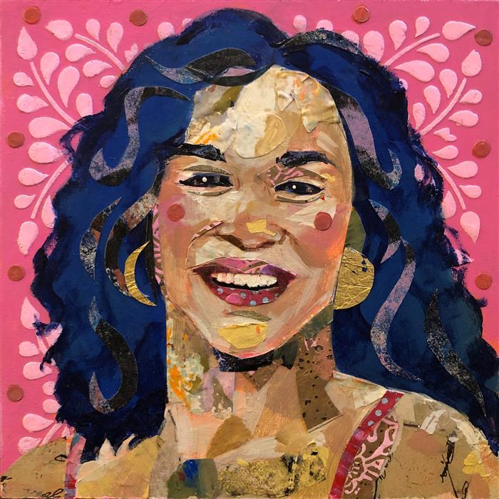 Original art for sale at UGallery.com | Cha Cha by Darlene McElroy | $375 | mixed media artwork | 8' h x 8' w | ..\art\mixed-media-artwork-Cha-Cha