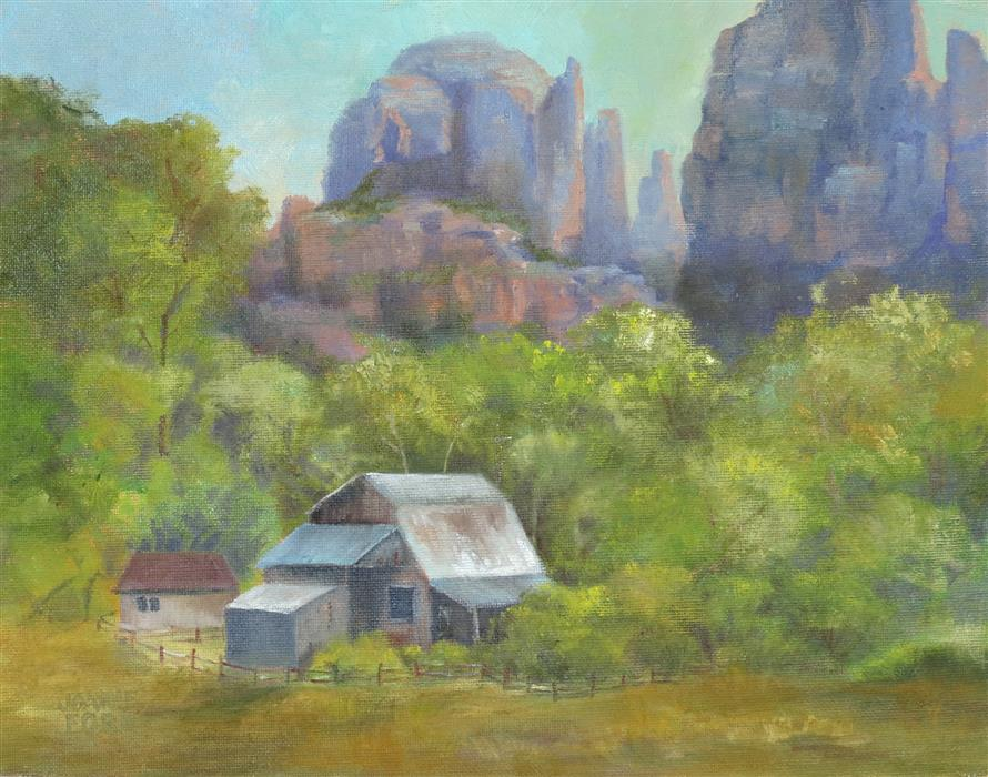 Original art for sale at UGallery.com | Cathedral Rock Ranch by Joanie Ford | $275 | oil painting | 11' h x 14' w | ..\art\oil-painting-Cathedral-Rock-Ranch