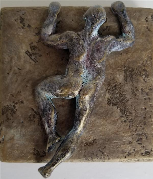 Original art for sale at UGallery.com | Small Being Climber on Bronze (Series 2/50) by Yelitza Diaz | $325 | mixed media artwork | 7' h x 6' w | ..\art\mixed-media-artwork-Small-Being-Climber-on-Bronze-Series-2-50