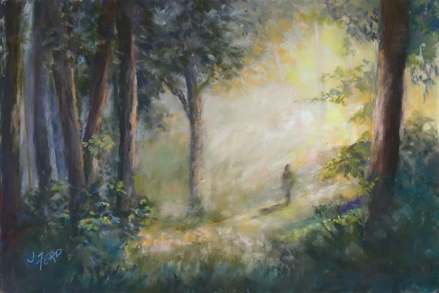 Original art for sale at UGallery.com | Morning Walk by Joanie Ford | $275 | pastel artwork | 12' h x 18' w | ..\art\pastel-artwork-Morning-Walk