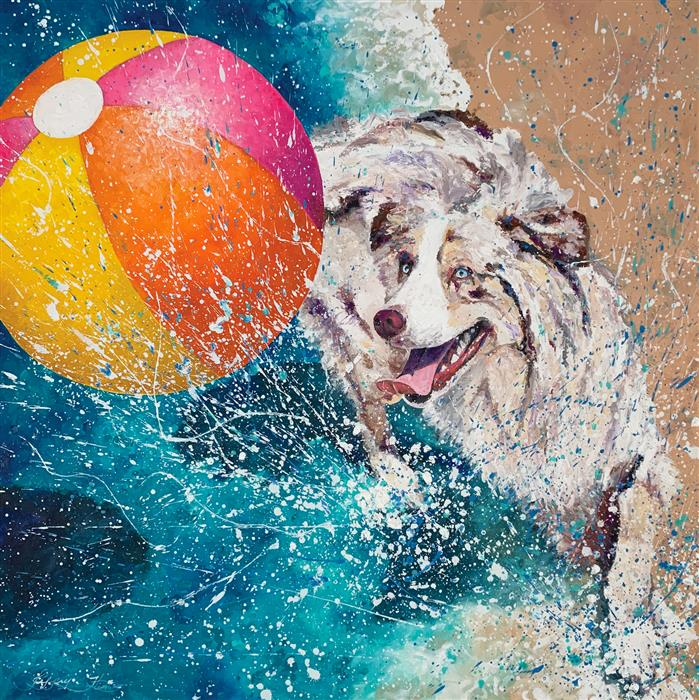 Original art for sale at UGallery.com | Splishin and a Splashin by Jeff Fleming | $2,300 | oil painting | 36' h x 36' w | ..\art\oil-painting-Splishin-and-a-Splashin