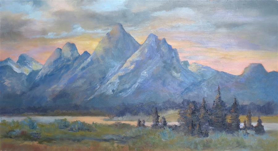 Original art for sale at UGallery.com | Sunset on the Tetons by Joanie Ford | $350 | oil painting | 12' h x 22' w | ..\art\oil-painting-Sunset-on-the-Tetons