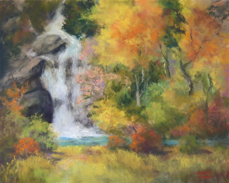 Original art for sale at UGallery.com | Hidden Forest Falls by Joanie Ford | $275 | pastel artwork | 12' h x 15' w | ..\art\pastel-artwork-Hidden-Forest-Falls