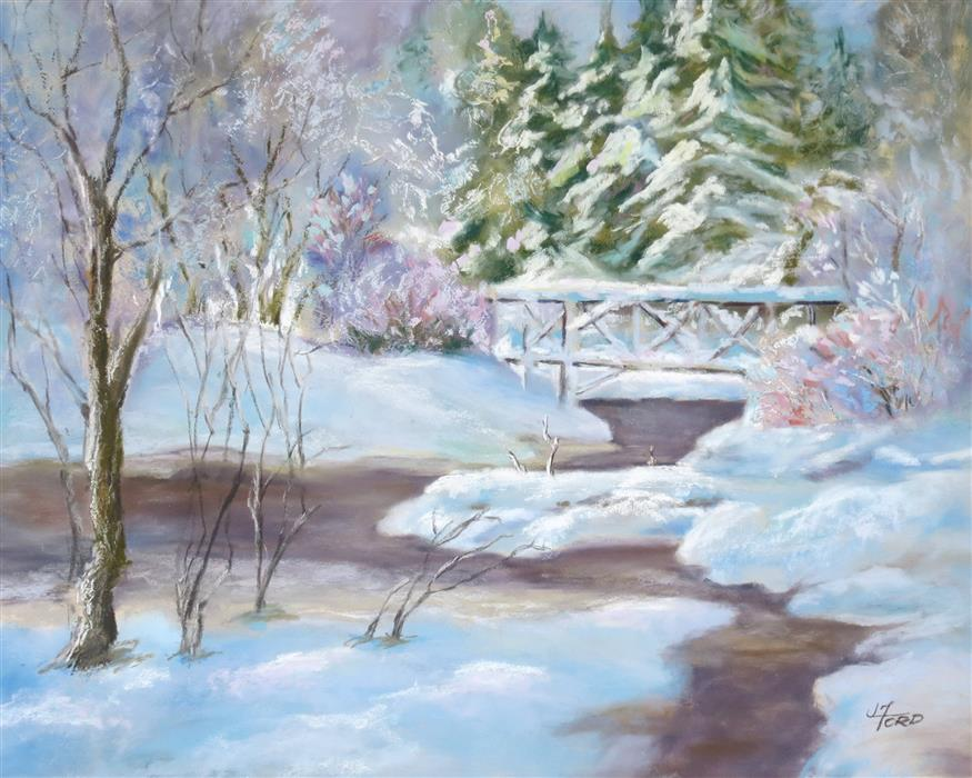 Original art for sale at UGallery.com   Fresh Snow by the Creek by Joanie Ford   $275   pastel artwork   12' h x 15' w   ..\art\pastel-artwork-Fresh-Snow-by-the-Creek