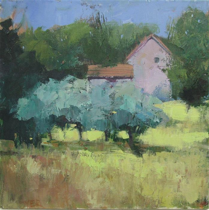 Original art for sale at UGallery.com | House with Olive Trees by Janet Dyer | $1,000 | acrylic painting | 20' h x 20' w | ..\art\acrylic-painting-House-with-Olive-Trees