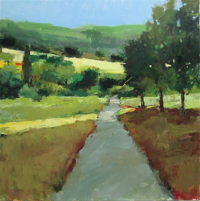 Original art for sale at UGallery.com | Sunlight on Path, Provence by Janet Dyer | $1,000 | acrylic painting | 20' h x 20' w | ..\art\acrylic-painting-Sunlight-on-Path-Provence