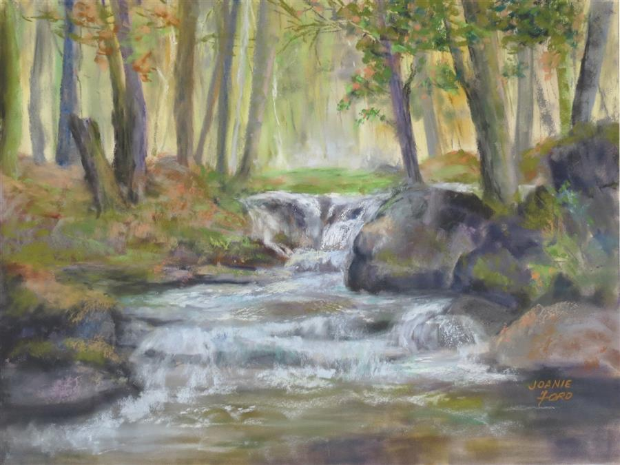 Original art for sale at UGallery.com | My Place in the Woods by Joanie Ford | $275 | pastel artwork | 12' h x 16' w | ..\art\pastel-artwork-My-Place-in-the-Woods