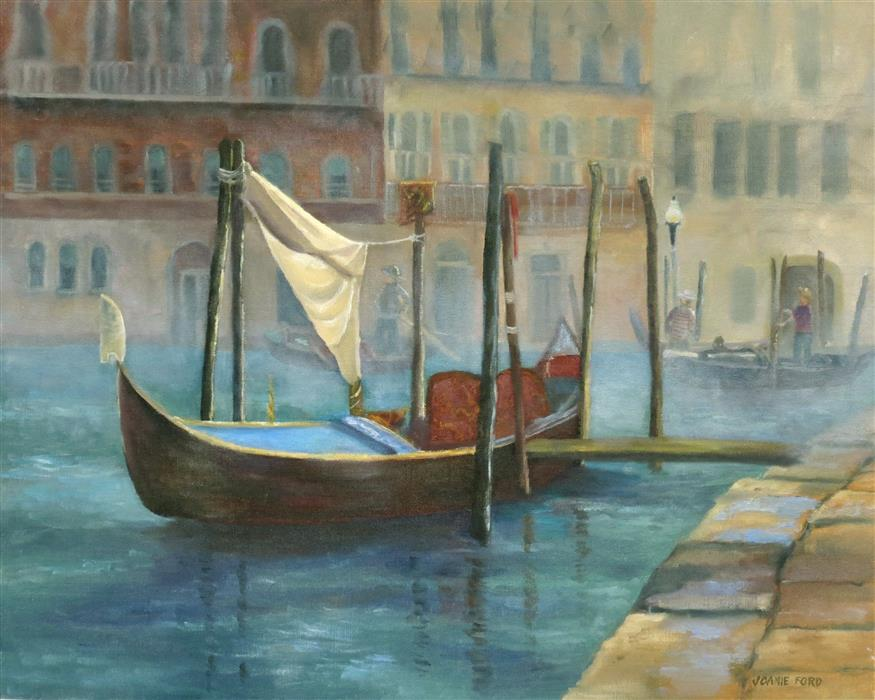 Original art for sale at UGallery.com | Gondola Waiting for Passengers by Joanie Ford | $450 | oil painting | 16' h x 20' w | ..\art\oil-painting-Gondola-Waiting-for-Passengers