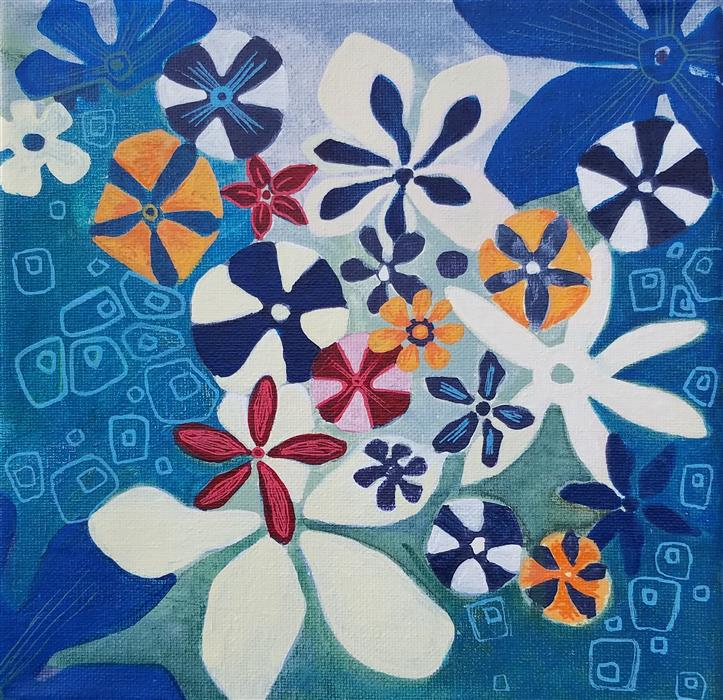 Original art for sale at UGallery.com | Bouquet of Flowers by Diana Elena Chelaru | $350 | acrylic painting | 8' h x 8' w | ..\art\acrylic-painting-Bouquet-of-Flowers