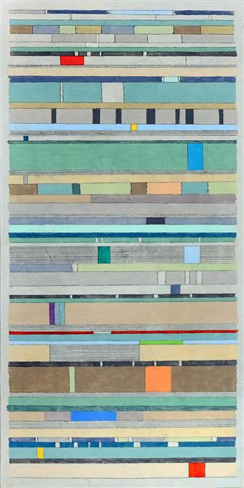 Original art for sale at UGallery.com | Linear Thinking by Terri Bell | $600 | mixed media artwork | 24' h x 12' w | ..\art\mixed-media-artwork-Linear-Thinking