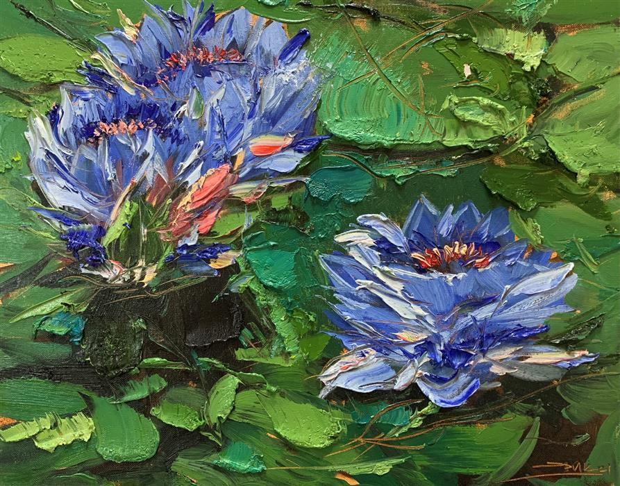 Original art for sale at UGallery.com | Blue Lilies 03 by Eric Alfaro | $700 | oil painting | 16' h x 20' w | ..\art\oil-painting-Blue-Lilies-03