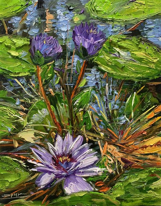 Original art for sale at UGallery.com | Three Violet Flowers by Eric Alfaro | $700 | oil painting | 20' h x 16' w | ..\art\oil-painting-Three-Violet-Flowers