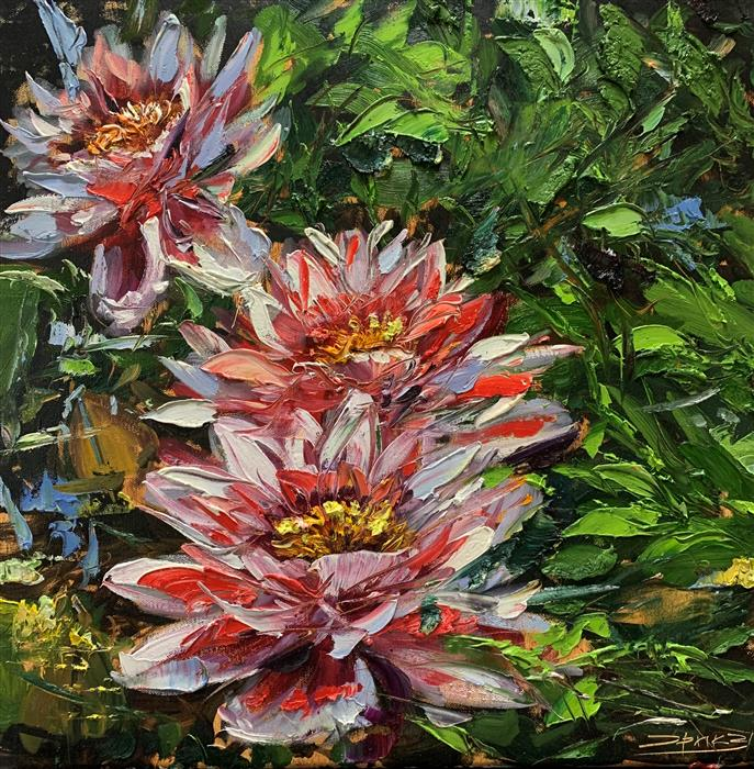 Original art for sale at UGallery.com | Three Lilies by Eric Alfaro | $950 | oil painting | 20' h x 20' w | ..\art\oil-painting-Three-Lilies