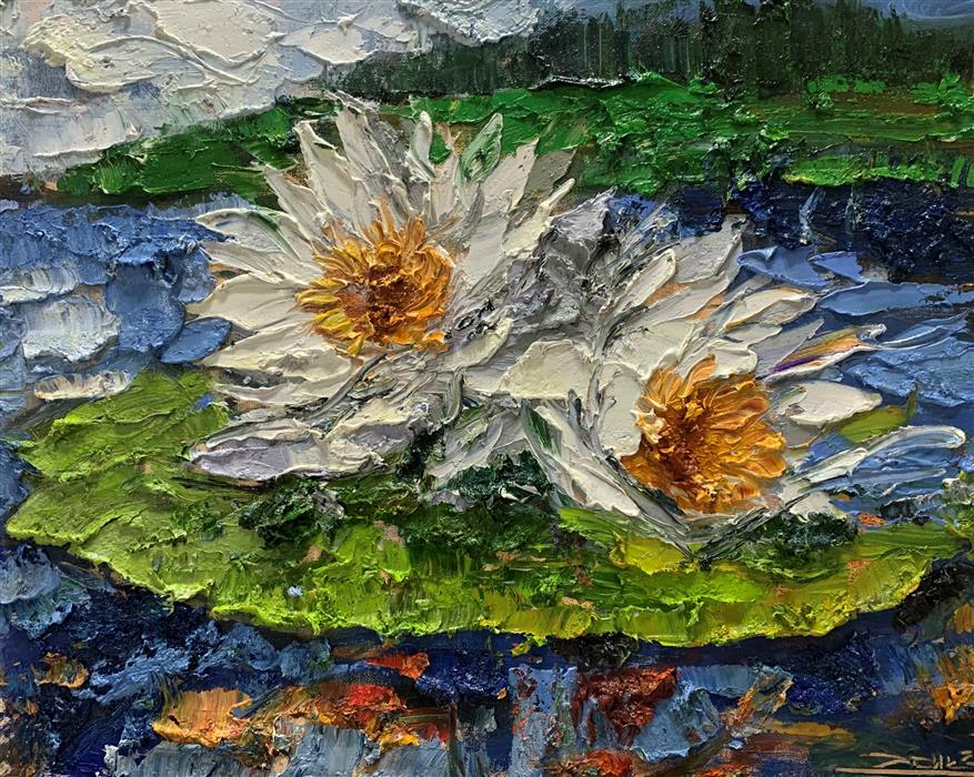 Original art for sale at UGallery.com | White Flowers 03 by Eric Alfaro | $700 | oil painting | 16' h x 20' w | ..\art\oil-painting-White-Flowers-03