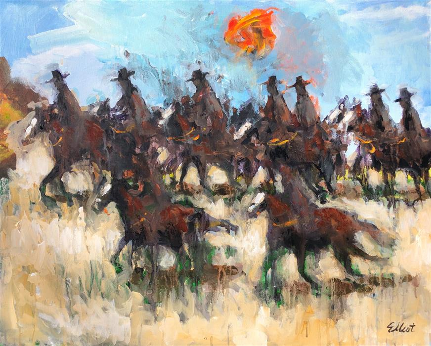 Original art for sale at UGallery.com | 9 Cowboys by Elliot Coatney | $1,100 | acrylic painting | 24' h x 30' w | ..\art\acrylic-painting-9-Cowboys