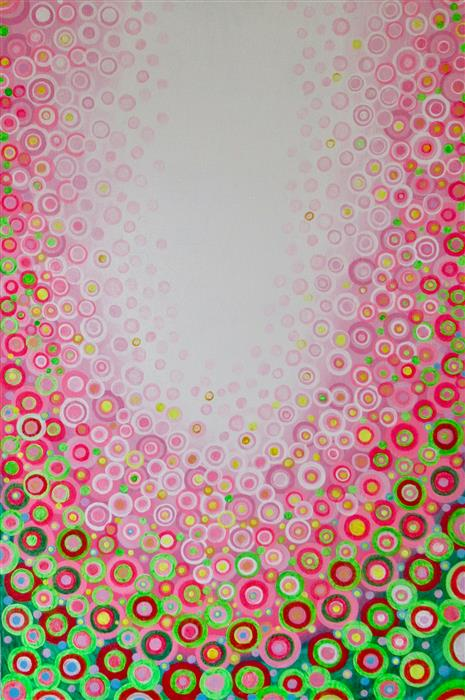 Original art for sale at UGallery.com | Pink and Green 2 by Natasha Tayles | $900 | acrylic painting | 36' h x 24' w | ..\art\acrylic-painting-Pink-and-Green-2