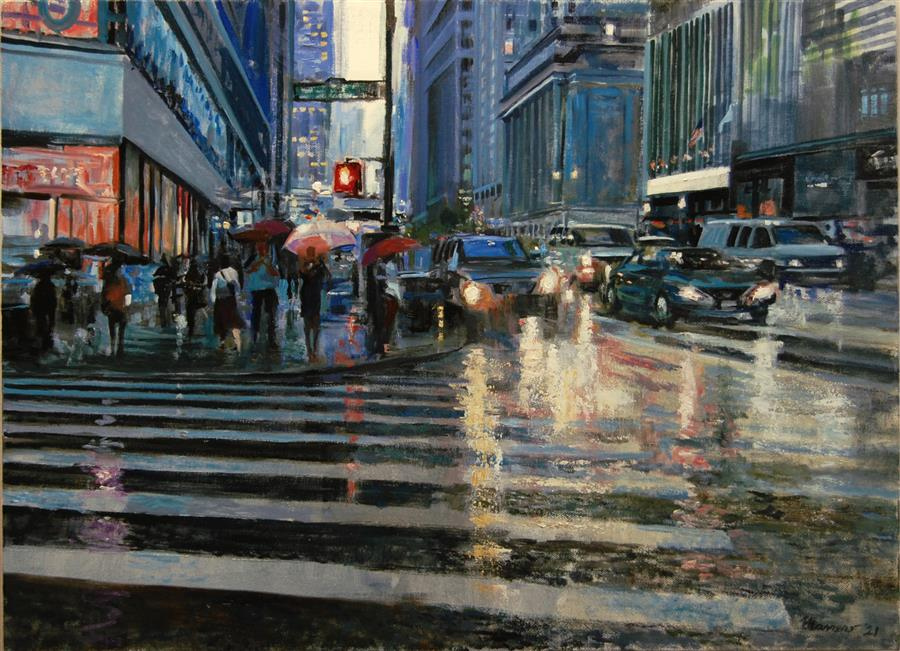 Original art for sale at UGallery.com | West Forty Third by Onelio Marrero | $1,125 | oil painting | 18' h x 24' w | ..\art\oil-painting-West-Forty-Third