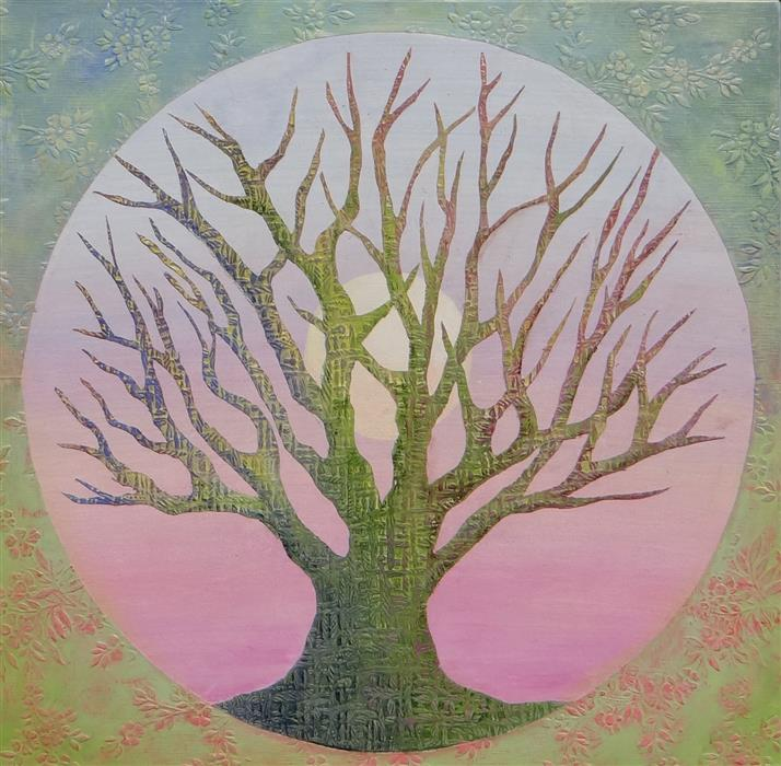 Original art for sale at UGallery.com | Tree of Life - Spring by Brit J Oie | $950 | mixed media artwork | 24' h x 24' w | ..\art\mixed-media-artwork-Tree-of-Life-Spring