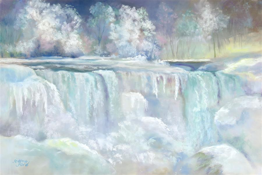 Original art for sale at UGallery.com | Frozen Niagara by Joanie Ford | $275 | pastel artwork | 12' h x 18' w | ..\art\pastel-artwork-Frozen-Niagara