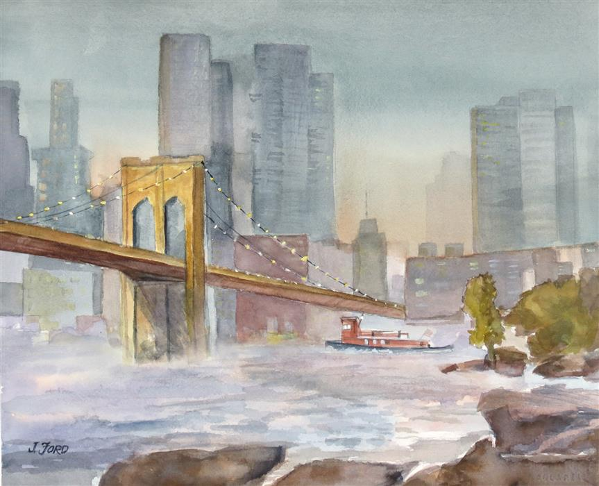 Original art for sale at UGallery.com   Brooklyn Bridge at Dusk by Joanie Ford   $250   watercolor painting   11.75' h x 14.5' w   ..\art\watercolor-painting-Brooklyn-Bridge-at-Dusk