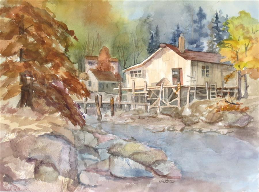 Original art for sale at UGallery.com | Cabin Hideaway by Joanie Ford | $300 | watercolor painting | 11.5' h x 15.5' w | ..\art\watercolor-painting-Cabin-Hideaway