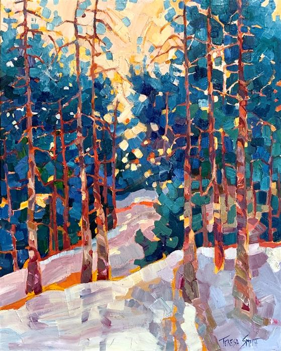 Original art for sale at UGallery.com | Snow Day by Teresa Smith | $1,075 | oil painting | 20' h x 16' w | ..\art\oil-painting-Snow-Day