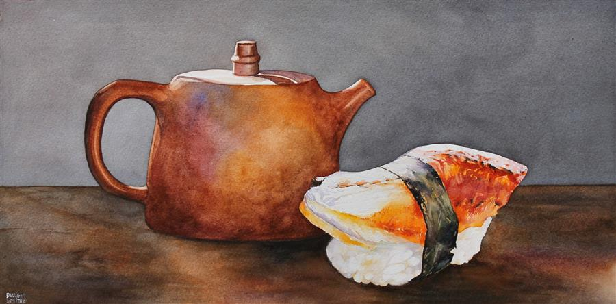 Original art for sale at UGallery.com | Tea with Sushi by Dwight Smith | $450 | watercolor painting | 9' h x 18' w | ..\art\watercolor-painting-Tea-with-Sushi