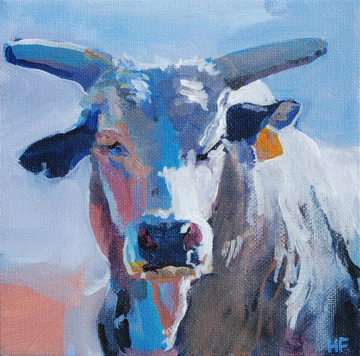Original art for sale at UGallery.com | Bright Bull by Heather Foster | $375 | acrylic painting | 6' h x 6' w | ..\art\acrylic-painting-Bright-Bull
