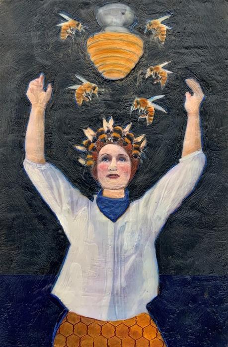 Original art for sale at UGallery.com | Glory Bee by Linda Benenati | $575 | encaustic artwork | 18' h x 12' w | ..\art\encaustic-artwork-Glory-Bee
