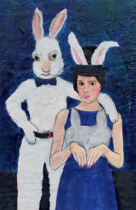 Original art for sale at UGallery.com | Her Friend Harvey by Linda Benenati | $575 | encaustic artwork | 18' h x 12' w | ..\art\encaustic-artwork-Her-Friend-Harvey