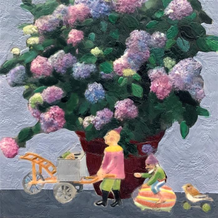 Original art for sale at UGallery.com | Hydrangea Mania by Linda Benenati | $500 | encaustic artwork | 10' h x 10' w | ..\art\encaustic-artwork-Hydrangea-Mania