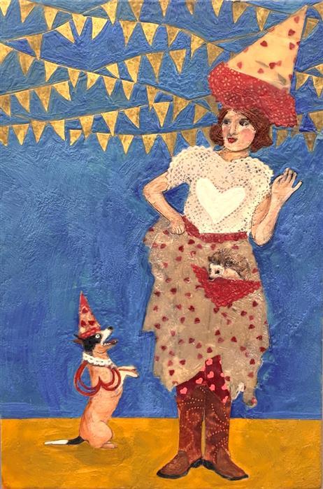 Original art for sale at UGallery.com | Carnival Des Coeurs by Linda Benenati | $575 | encaustic artwork | 18' h x 12' w | ..\art\encaustic-artwork-Carnival-Des-Coeurs